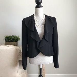Alfani Black Ruffle Career Suit Dress Jacket